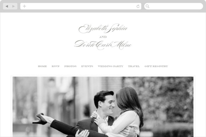 This is a grey wedding website by Kimberly Morgan called Gracieux printing on digital paper.