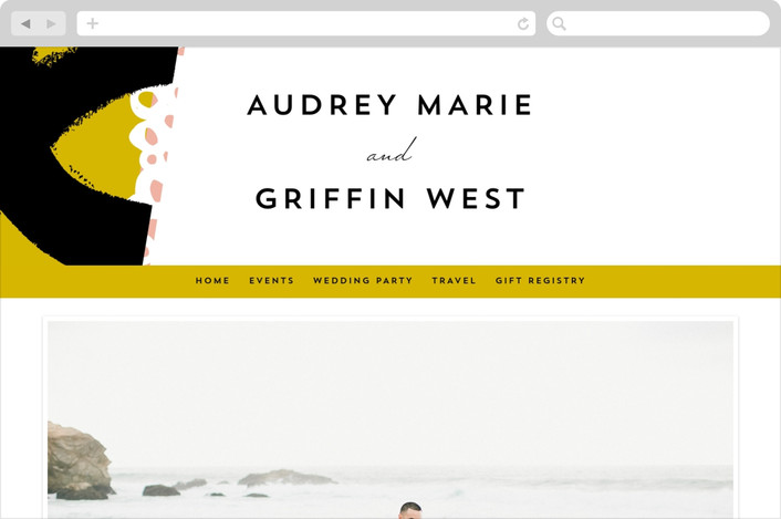 """""""the modernists"""" - Modern, Abstract Wedding Websites in Mustard by Angela Marzuki."""
