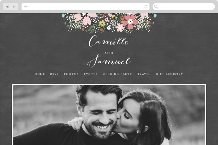 This is a colorful wedding website by Kristie Kern called Wildflower Bouquet printing on digital paper.