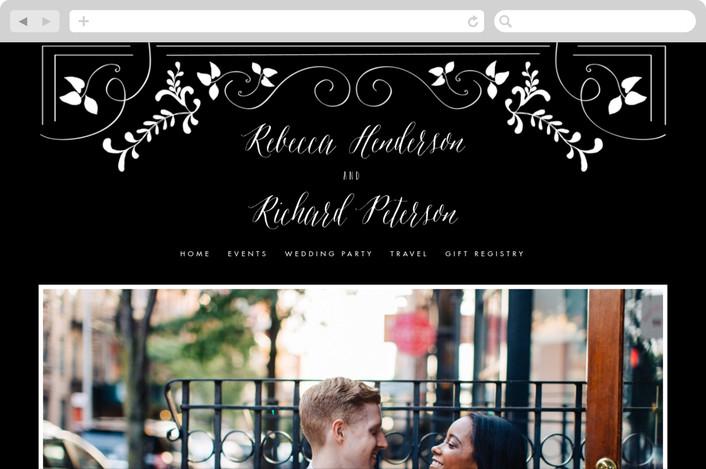 """Let's Get Married"" - Floral & Botanical, Vintage Wedding Websites in Noir by Chris Griffith."