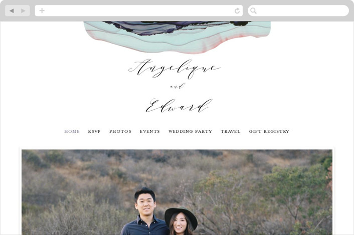 This is a blue wedding website by Three Kisses Studio called Flow printing on digital paper.