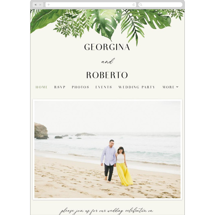 """Tropical Vows"" - Wedding Websites in Jade by Chris Griffith."