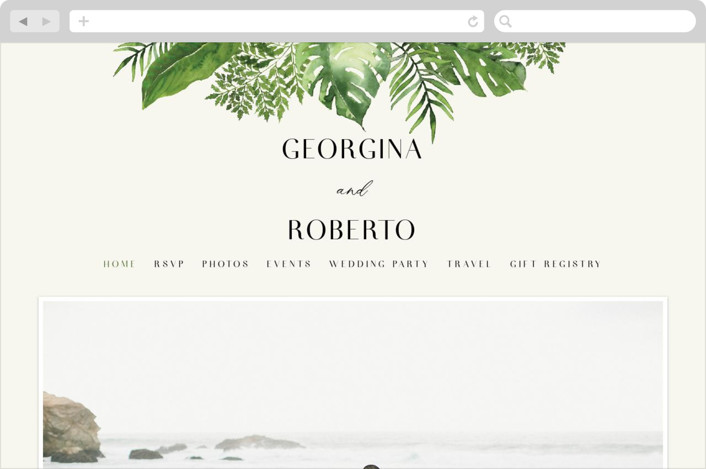 This is a green wedding website by Chris Griffith called Tropical Vows printing on digital paper.