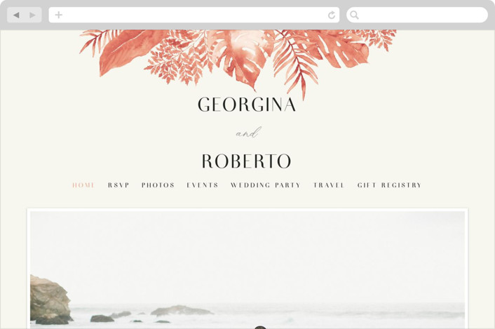 This is a orange wedding website by Chris Griffith called Tropical Vows printing on digital paper.