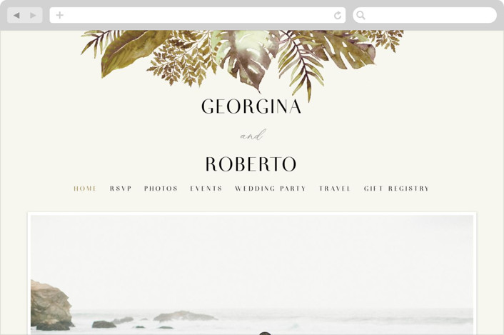 This is a brown wedding website by Chris Griffith called Tropical Vows printing on digital paper.