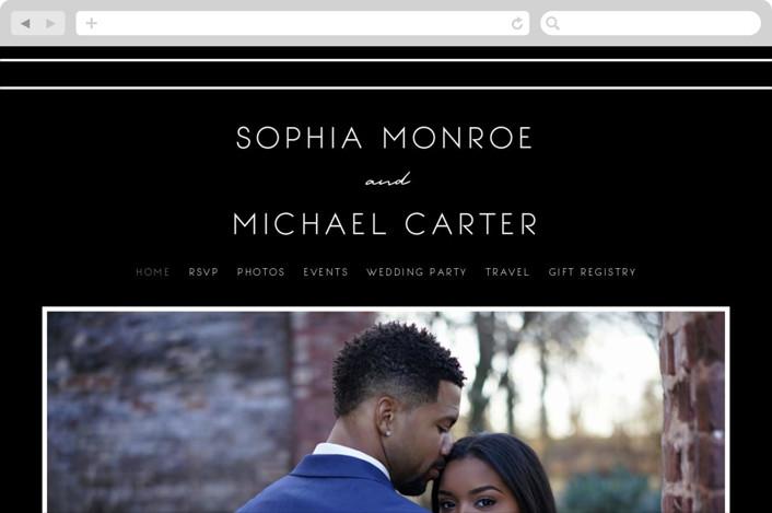 This is a black wedding website by GeekInk Design called Vesperum printing on digital paper.