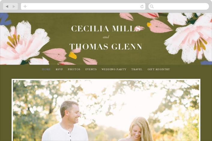 This is a green wedding website by Angela Marzuki called romance in spring printing on digital paper.