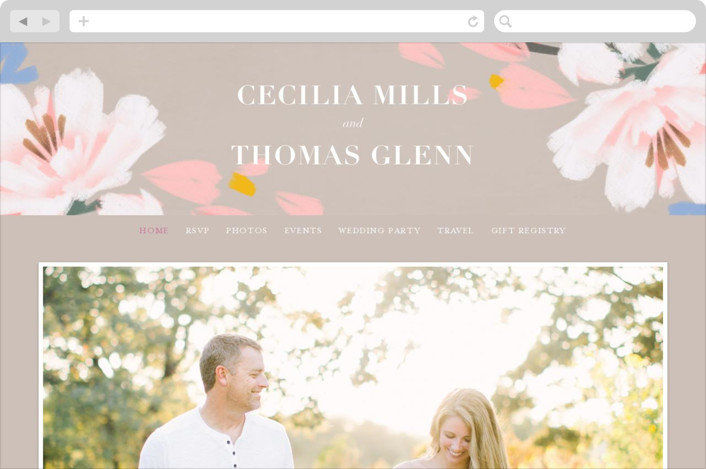 This is a grey wedding website by Angela Marzuki called romance in spring printing on digital paper.
