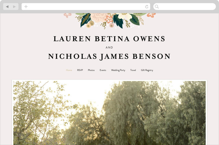 This is a colorful wedding website by Alethea and Ruth called Classic Floral printing on digital paper.