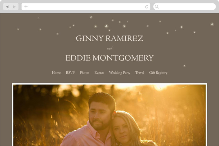 """Fireflies"" - Wedding Websites in Zuni Brown by cadence paige design."