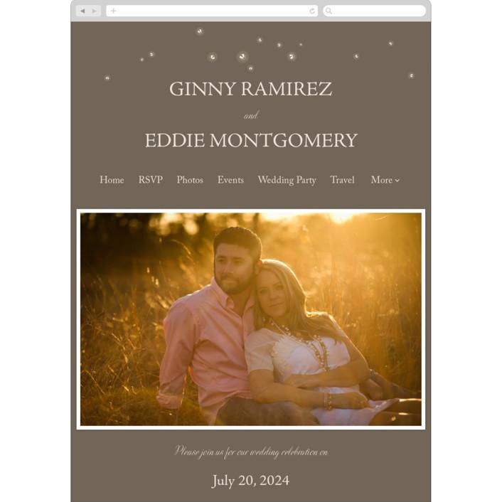 """Fireflies"" - Wedding Websites in Zuni Brown by Paige Rothhaar."