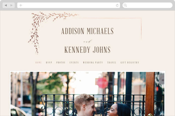 This is a beige wedding website by chocomocacino called positano printing on digital paper.