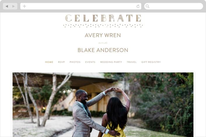 """Gilded Celebration"" - Wedding Websites in Gold by curiouszhi design."