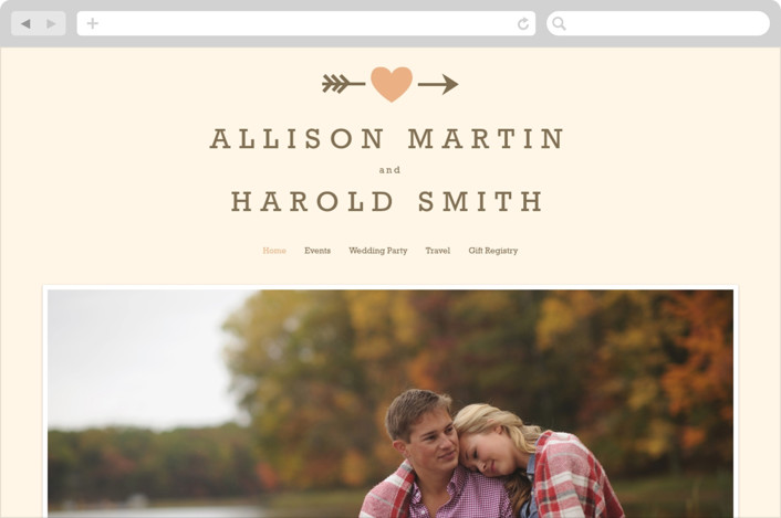"""Love Struck"" - Rustic, Simple Wedding Websites in Pale Salmon by The Social Type."