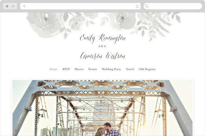 """""""Watercolor Floral"""" - Wedding Websites in Fog by Jill Means."""