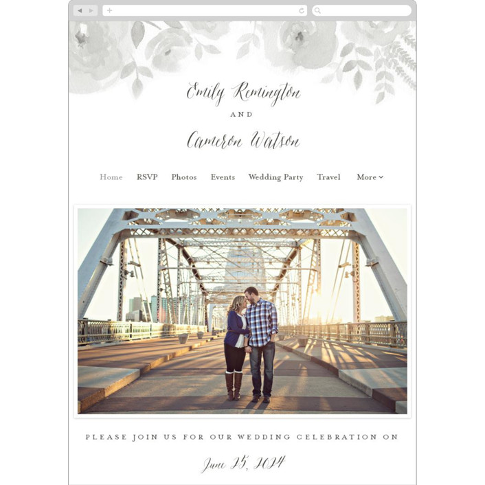 """Watercolor Floral"" - Wedding Websites in Fog by Jill Means."