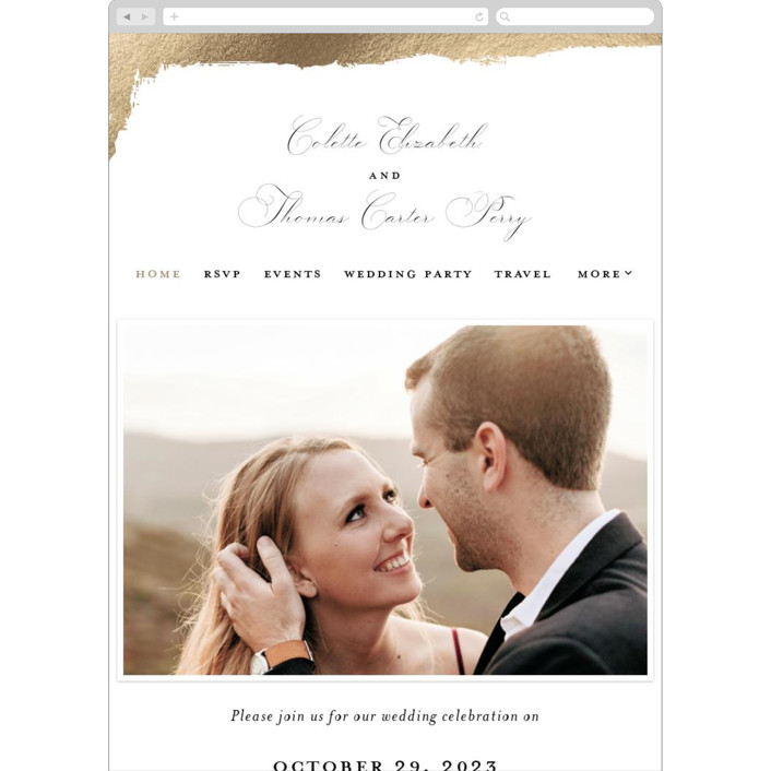 """""""Gilded Edge"""" - Wedding Websites in Moonstone by Pink House Press."""