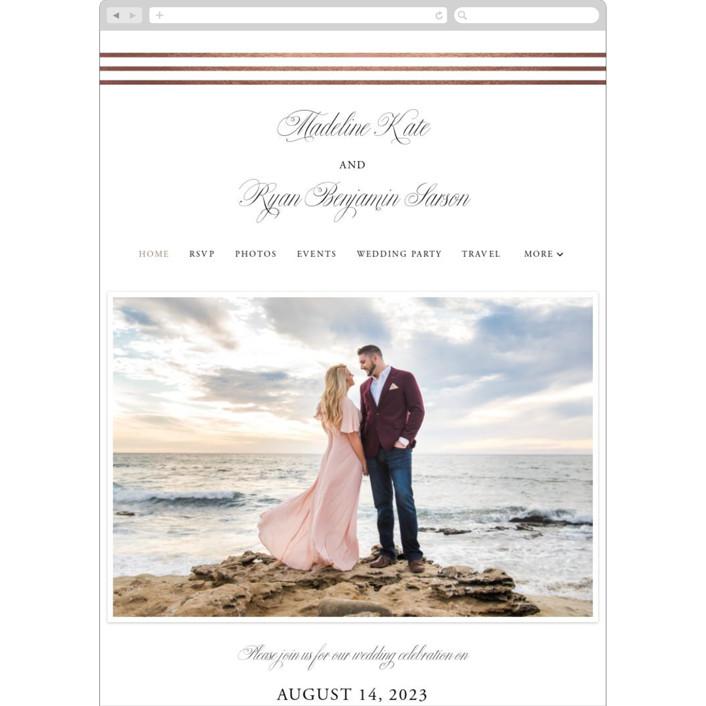 """Luxe Pinstripes"" - Wedding Websites in Linen by Jill Means."