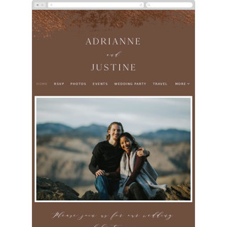 This is a brown wedding website by Eric Clegg called Woodland Hills printing on digital paper.