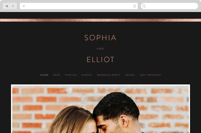 This is a black wedding website by Angela Thompson called Simple Elegance printing on digital paper.