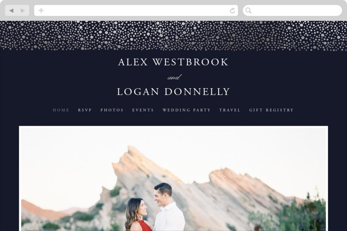 This is a blue wedding website by Erin Deegan called glittered printing on digital paper.