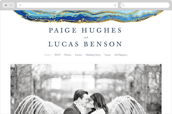 """Gilt Agate"" - Wedding Websites in Navy by Kaydi Bishop."
