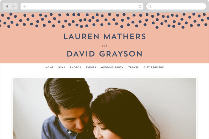 """Devoted"" - Wedding Websites in Sweet Peach by Oscar & Emma."