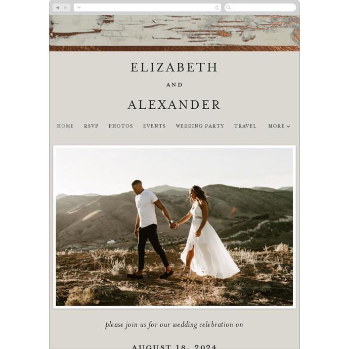 """Gilded birch bark"" - Rustic Wedding Websites in Clay by Heather Schertzer."