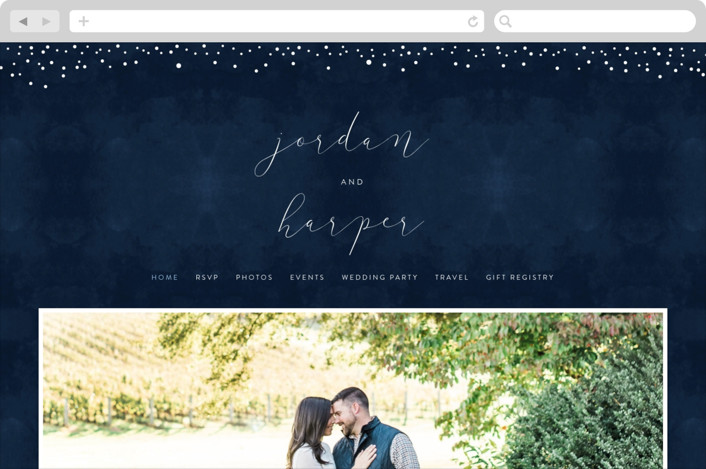 This is a blue wedding website by Erin Deegan called tiny dots printing on digital paper.