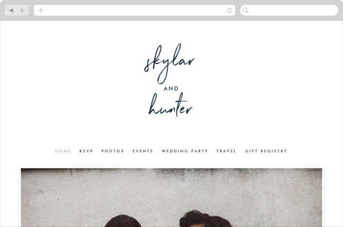 """Funky Names"" - Wedding Websites in Navy by Phrosne Ras."