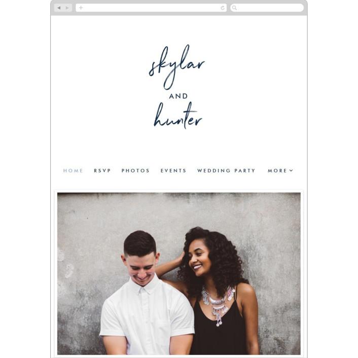 """Funky Names"" - Wedding Websites in Navy by Phrosne Ras."