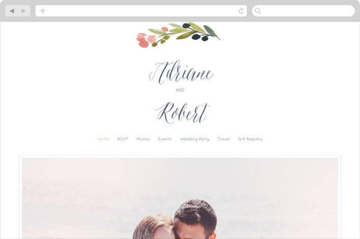 """Watercolor Wreath"" - Floral & Botanical Wedding Websites in Grapefruit by Yao Cheng."