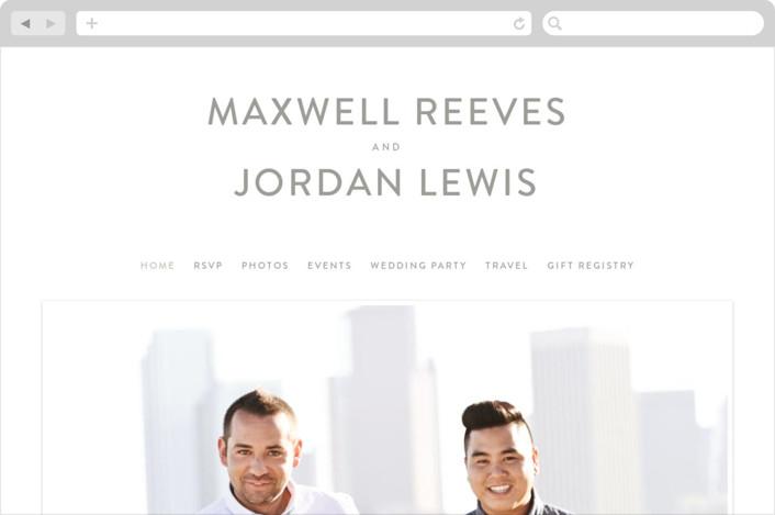 This is a grey wedding website by Christie Garcia called Minimalist Script printing on digital paper.