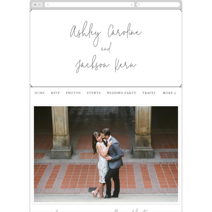 """Traditional Twist"" - Wedding Websites in Graphite by Erin Deegan."