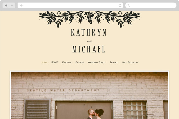 """Inked"" - Wedding Websites in Parchment by GeekInk Design."