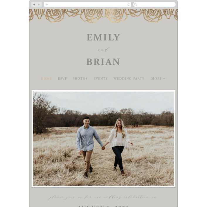 """Rose Box"" - Wedding Websites in Warm Gray by Melinda Denison."
