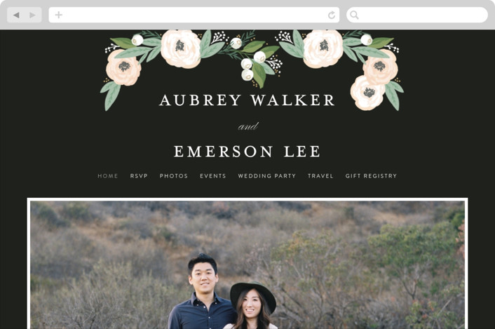 This is a grey wedding website by Alethea and Ruth called Blooming Bouquet printing on digital paper.