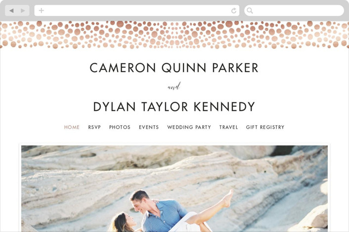"""Foundry"" - Wedding Websites in Rose Gold by Jillanne Chimento."