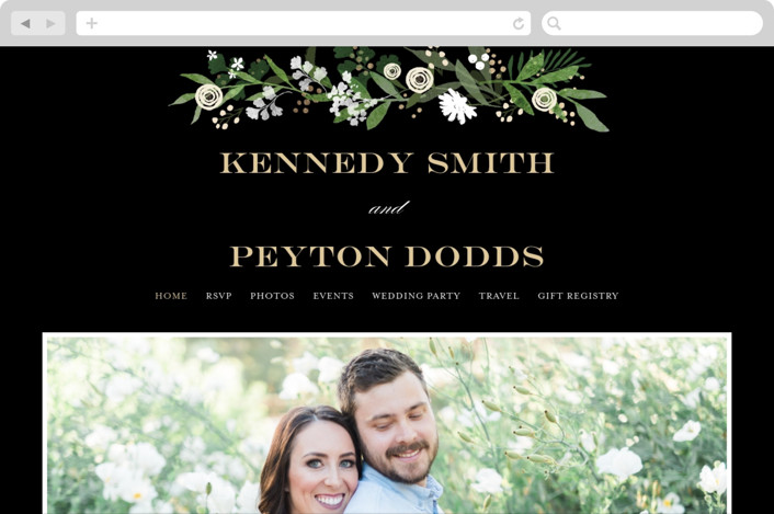This is a black wedding website by Jennifer Wick called Stacked wedding printing on digital paper.