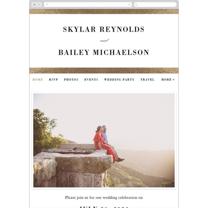 """""""Classic Monogram"""" - Wedding Websites in Gold by Stacey Meacham."""