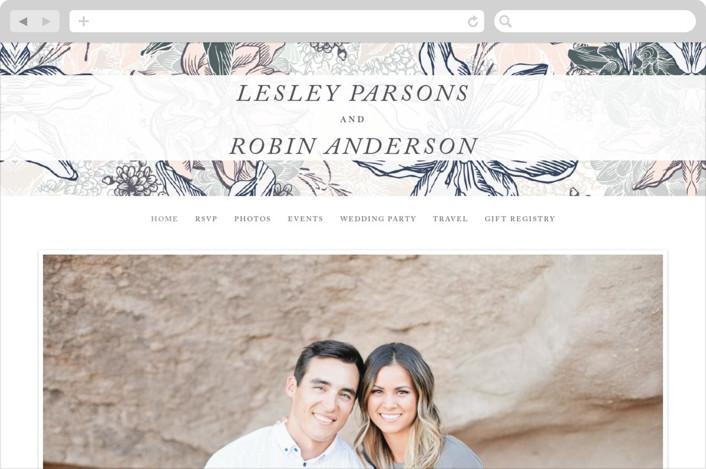"""""""hand drawn garden"""" - Wedding Websites in Navy by Phrosne Ras."""