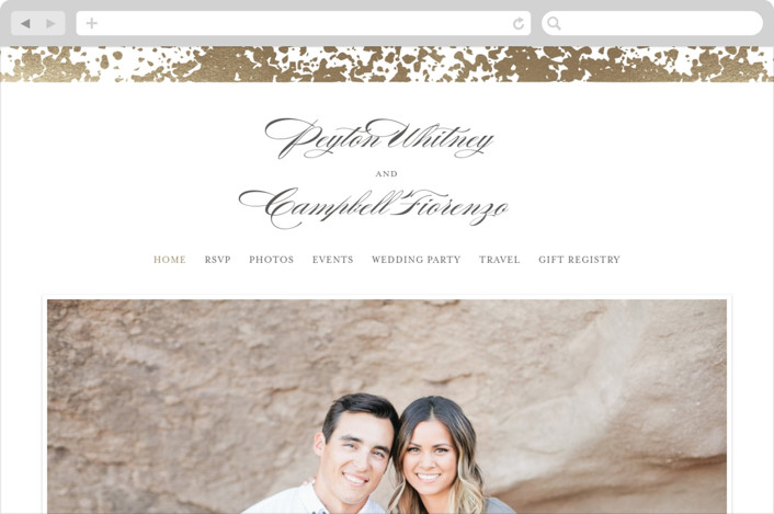 """Fleck"" - Wedding Websites in Gold by Snow and Ivy."