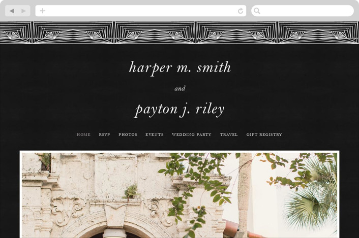 This is a black and white wedding website by Caitlin Mac called Art Deco Frame printing on digital paper.