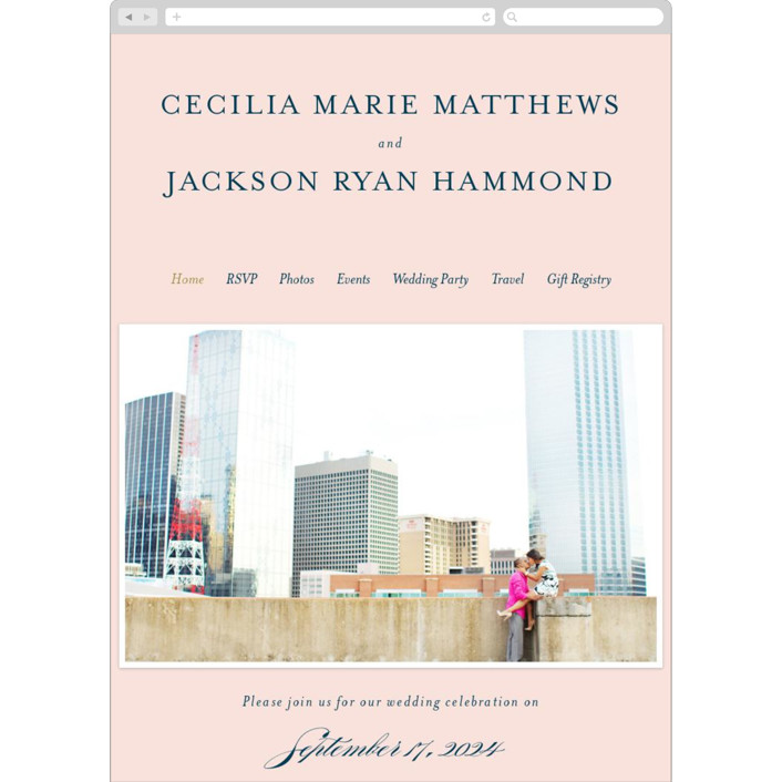 """""""Chic Gala"""" - Wedding Websites in Cotton Candy by Kimberly FitzSimons."""