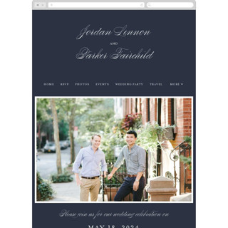 This is a blue wedding website by Kimberly FitzSimons called Flawless printing on digital paper in standard.