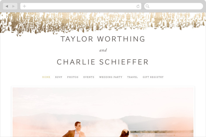 """Timber"" - Wedding Websites in Gold by Kimberly Morgan."