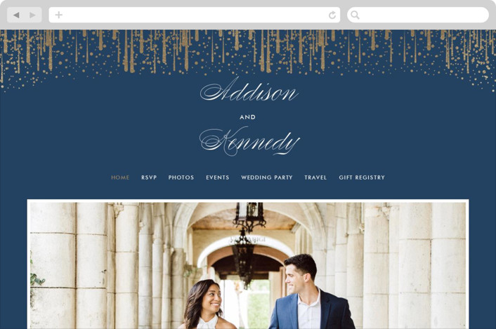 """Cascade"" - Wedding Websites in Navy by Kristie Kern."