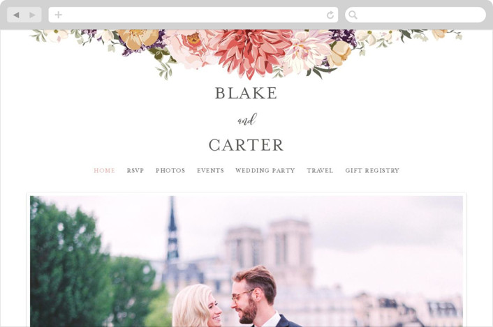 This is a colorful wedding website by Susan Moyal called Garden Wedding printing on digital paper.
