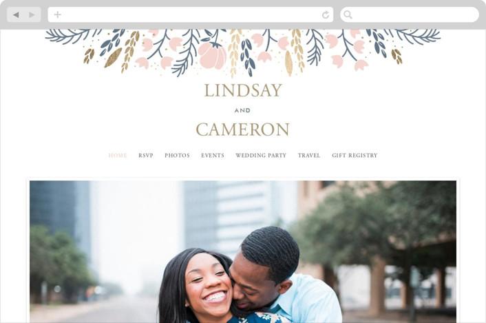 This is a blue wedding website by Oma N. Ramkhelawan called Florabella printing on digital paper.