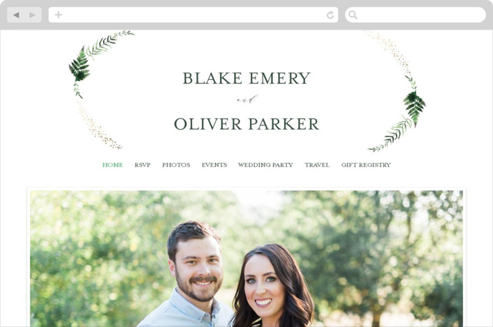 This is a gold wedding website by Kristie Kern called Sparkling Ferns printing on digital paper.